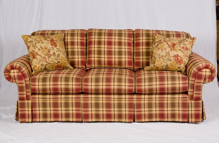Red Plaid Sofa Broyhill Baci Living Room